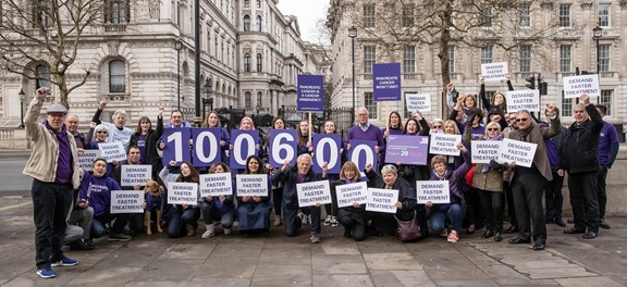 Pancreatic Cancer UK staff and supporters at No.10 Downing Street handing in the Demand Faster Treatment petition
